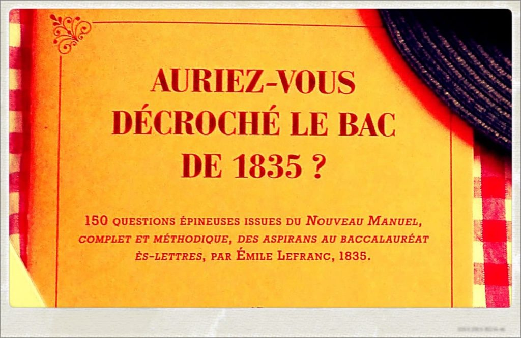 La couverture du cahier du Bac de 1835