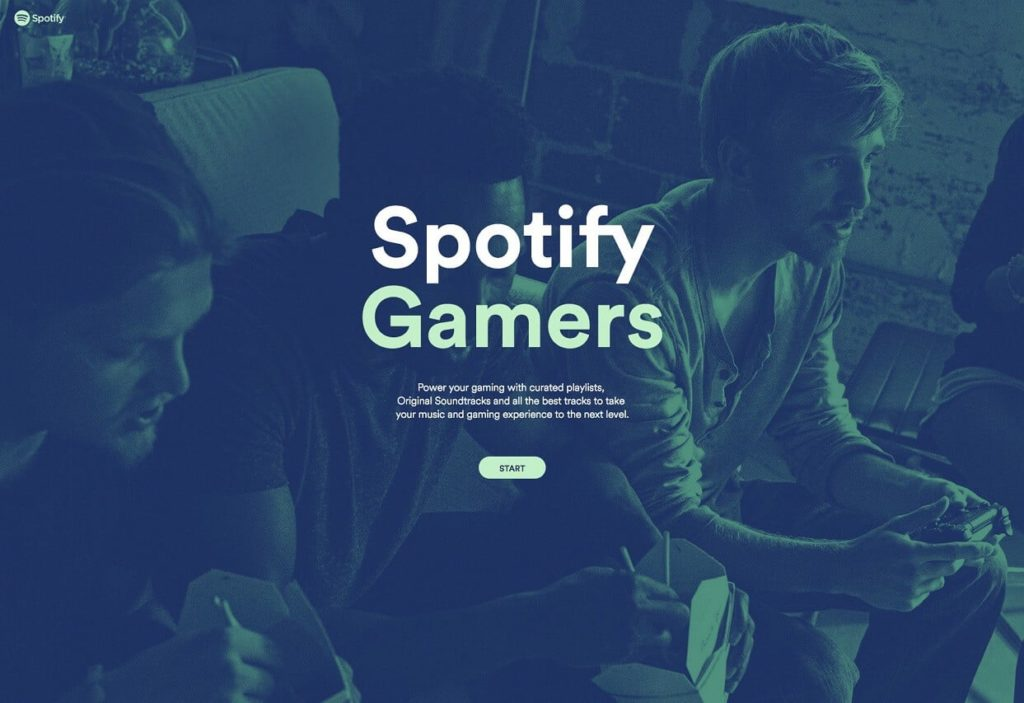 Page d'accueil de Spotify Gaming