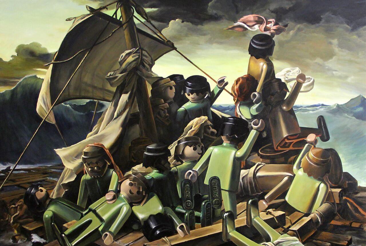 Le tableau du Radeau de la Méduse détourné par Pierre-Adrien Sollier