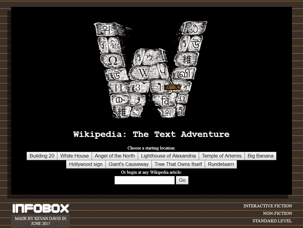 Wikipedia - text adventure