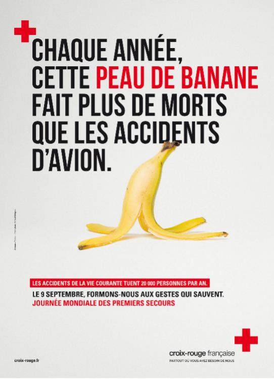 Visuel d'une peau de banane pour sensibiliser aux accidents domestiques