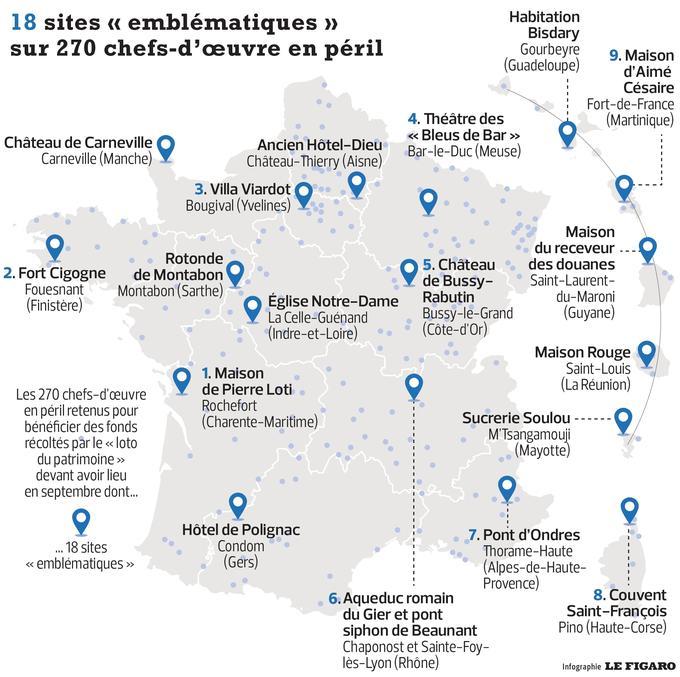 Une carte des lieux patrimoniaux